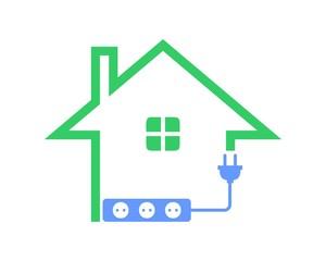 House green plug energy logo