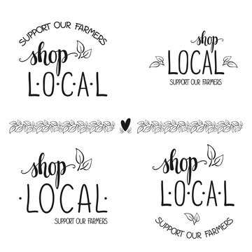 Shop local, support our farmers text for advertising. Vector.
