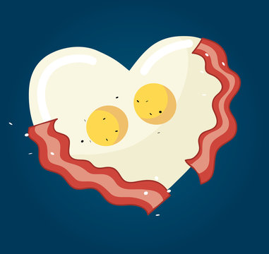 Fried egg and bacon in heart shape vector