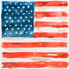 Watercolor american flag. USA flag for national holidays or decoration. Patriotic art.