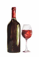 Watercolor red wine bottle with glass. Isolated painted bottle of red wine. Restaurant menu and celebration drinking.