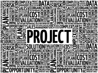 Project word cloud collage, business concept background