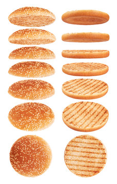 Grilled burger bun isolated on white background.