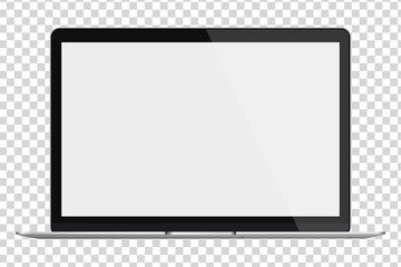Laptop with blank screen isolated on transparent background.