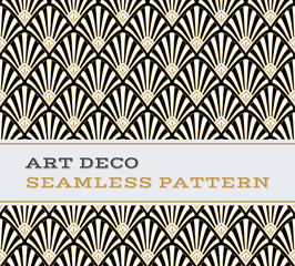 Art Deco seamless pattern  black white and gold colours 03