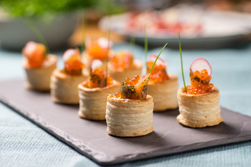 Delicious graved salmon appetizers