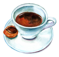 Watercolor cup of coffee with biscuit, retro drawing on white