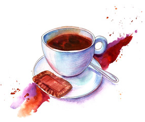Watercolour and pencil drawing of cup of coffee with biscuit