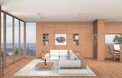 Wohnzimmer Und Esszimmer In Moderner Innenarchitektur Mit Einrichtung In  Buchenholz