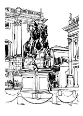 Tuinposter Art Studio black and white drawing of Rome Italy cityscape with sculpture e