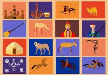 Kazakh ethnic theme vector icons set