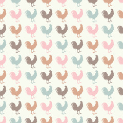 Seamless decorative vector background with cocks. Print. Cloth design, wallpaper.
