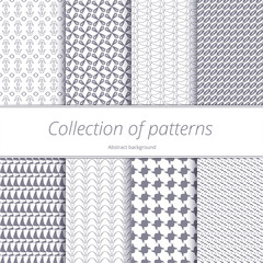 Collection of abstract patterns. Texture grayscale. Set of seamless backdrops. Endless monochromatic background. Vector illustration.