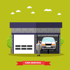 Car repair shop concept vector illustration in flat style. Auto mechanic with equipment and tools.