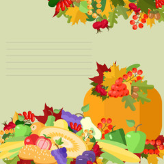 Thanksgiving Day , greeting card with pumpkin and fruit