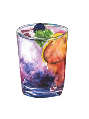 Hand drawn watercolor cocktail, isolated, easy to use for menus and other restaurant activities.