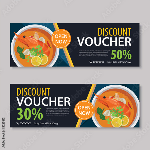 discount voucher template with thai food flat design\