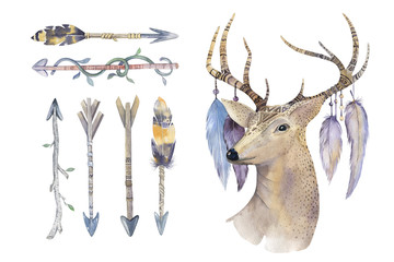 Watercolor hand drawn arrows set with deer. ethnic native american