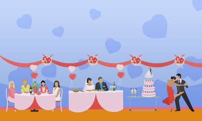 Wedding ceremony design vector banners. Party interior. Bride and groom celebrate their marriage