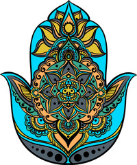 drawing of a Hand of Fatima (Hamsa) in orange, green and turquoise colors on a white background