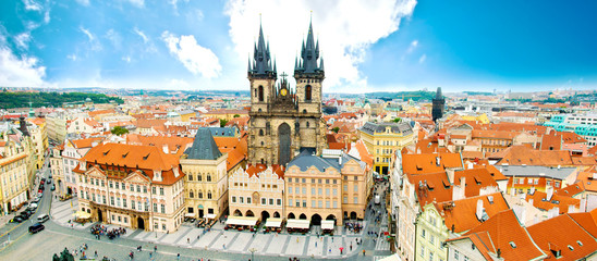 Prague. Old Town with Tyn Church and on square.
