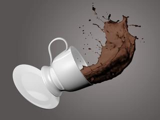 Fallende Kaffeetasse