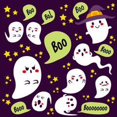 Cute Halloween different ghosts characters with boo text on bubble speech and stars