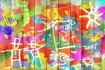 Color Graffiti Wall Background