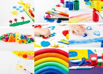 Children's creativity.Collage of school supplies