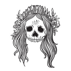 Human skull with flower wreath and quartz crystal crown. Los muertos. halloween skull Queen of the Damned. Vector illustration.