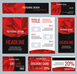 Corporate identity red polygonal banners and business cards