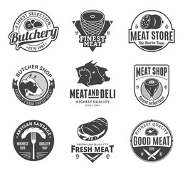 Vector butchery and meat logo, icons and design elements