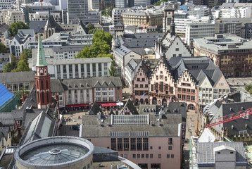 Old traditional buildings in Frankfurt, Germany in a summer