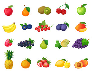 Vector set of icons fruits