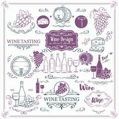 Decorative vintage wine icons.