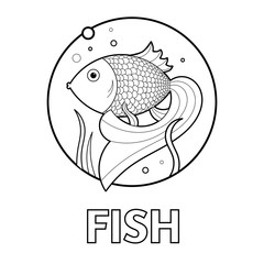 Vector illustration of educational coloring page with cartoon animal - fish in water- for kids