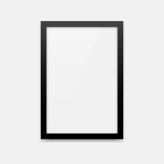 Black vector photo frame with portrait orientation (2x3). Vertical photo frame empty blank template.