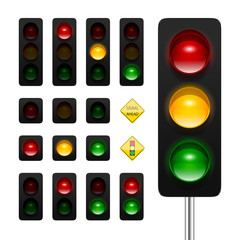 Vector traffic lights icon set. High quality three aspects, dual aspects and single aspects traffic signals icons isolated on white background. Traffic lights ahead and signal ahead road signs.