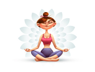 Yoga, Meditation and Relaxation, Cartoon Illustration