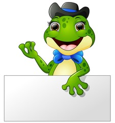 Happy frog cartoon holding blank sign
