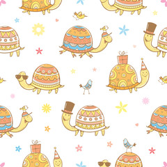 Seamless pattern with cute cartoon turtles and birds on white background. Roller skates and sunglasses. Funny animals. Summer time. Vector contour image.