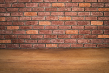Wooden Table and Brick Background