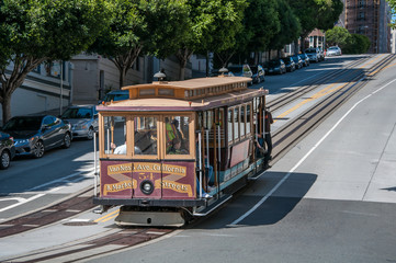 San Francisco, California, USA - APRIL 24, 2016:  Cable car at California street, documentary editorial. Wall mural