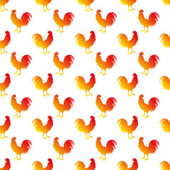 Seamless vector background with decorative roosters. Print. Cloth design, wallpaper.