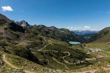 Hiking in the mountains of Kühtai skiing resort in Tyrol Austria