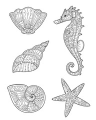 Adult coloring page with seashells, seahorse and starfish in zentangle style. Doodle hand drawn sketch of sea animals. Decorative element for T-shirt emblem, tattoo, logo.
