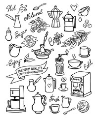Hand drawn vector coffee set with ingredients, dishes, devices