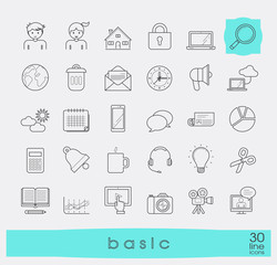 Collection of flat line universal icons. Line basic icons for web and mobile applications.