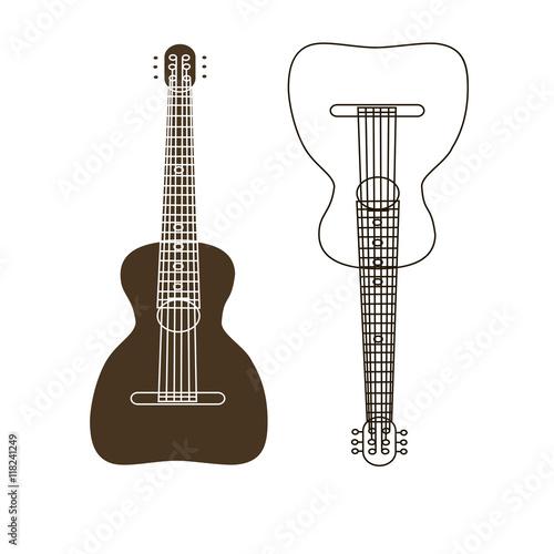 Russian folk stringed musical instrument guitar Wooden