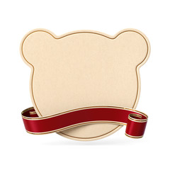 Curled red ribbon banner with teddy bear silhouette card